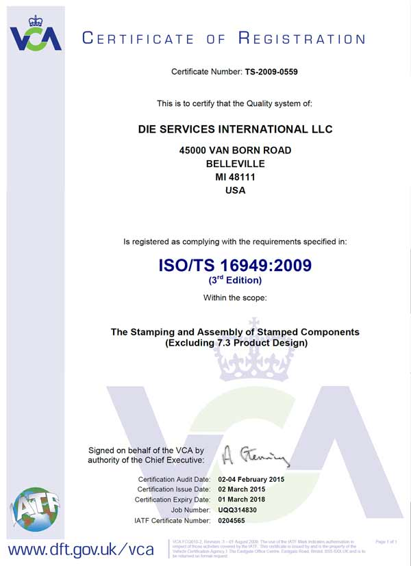 Quality Control ISO:TS 16949/2009 Certification - Die Service International